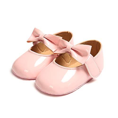 MASOCIO Baby Mädchen Prinzessin Bowknot Schuhe Kleinkind Anti-Rutsch Party Ballerinas Schuhe Pink 12-18 Monate