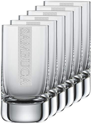 Miriquidi Sambucagläser 6er Set Serie Cool mit Gravur Sambuca   auf 5cl Schott Zwiesel Convention Nr. 35 Glas   Spülmaschinenfest   Sambucaglas mit Lasergravur 6 Stück