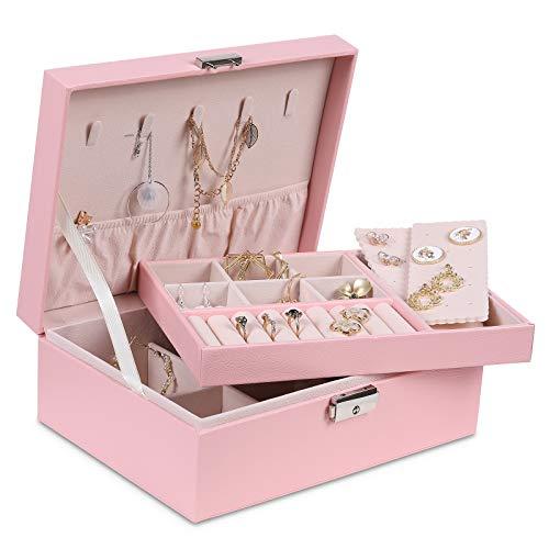 misaya Pequeña caja organizadora de joyas, caja de almacenamiento de joyería de cuero sintético de dos capas para mujer con bandeja extraíble para pendientes, anillo, collar, pulsera, rosa