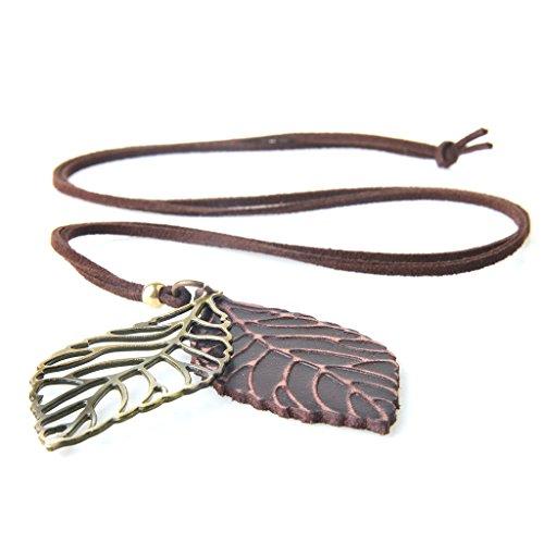 Gazechimp Collar Colgante de Forma Hojas Accesorios Retro Elegante para Mujer - marrón