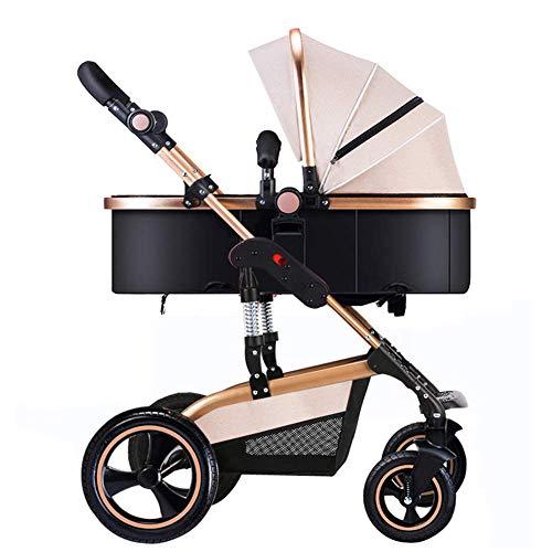 MNBV Travel System High Landscape Cochecito de bebé Cuna Reversible Buggy Baby Jogger Plegable 0-3 años, Amarillo