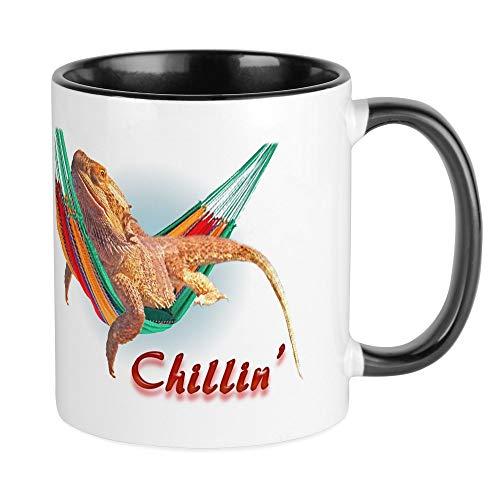 CafePress diseño de dragón Barbudo Chillin–Único taza de café, taza de café, taza de té, White/Black Inside, Small