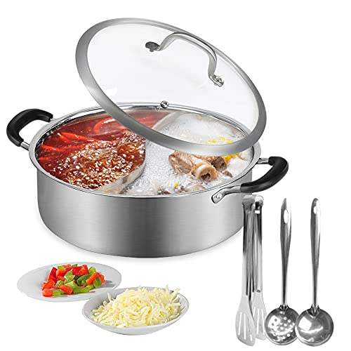 Hot Pot Cooker,11/13 Inch Food Grade Stainless Steel Mandarin Duck Pot,Kitchen Soup Cooking Tool, for Induction Cooktop Gas Stove,with Glass Lid ,2 Pot Spoons and Tongs