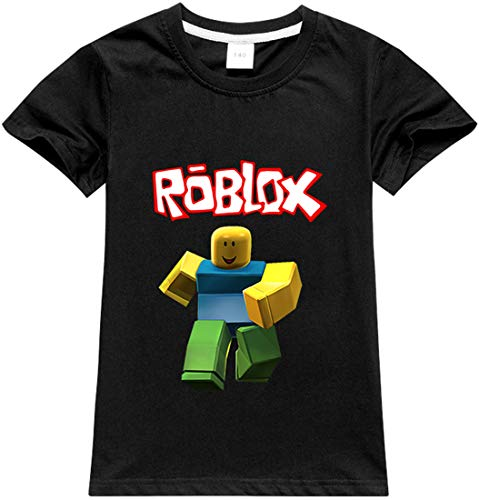 MINIDORA Roblox Boys T-Shirt Cosplay Breathable Cotton Cartoon Characters for Kids and Teens Age 3-14 Gamer Gifts (100,Black-29)
