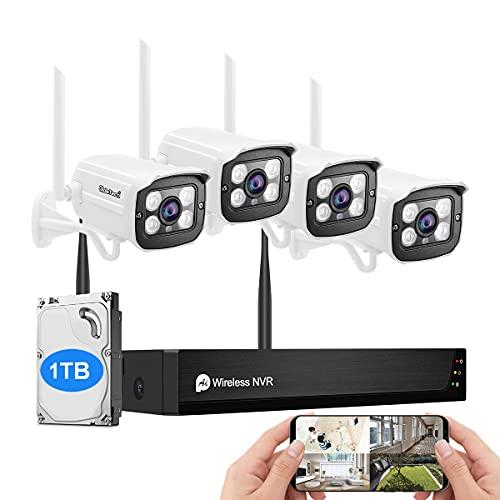 JideTech Kit Videosorveglianza WiFi,8CH 1TB NVR con 4X 1080P Telecamera Esterno IP WIFI Impermeabile,Visione Notturna di 30 Metri, rilevamento del movimento,24 7 Registrazione,Accesso Remoto