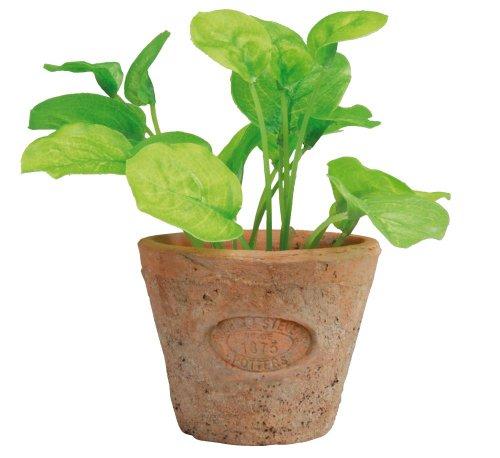 Esschert Design Kunststoffpflanze Basilikum im Topf, Größe S, ca. 8,6 cm x 8,6 cm x 15 cm