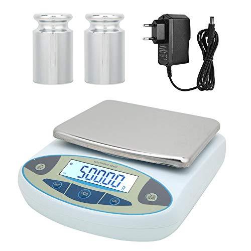 Báscula de pesaje digital de alta precisión de 5000 g, báscula electrónica para joyería de pesaje de laboratorio, báscula de laboratorio digital de 100-240 V (EU Plug)
