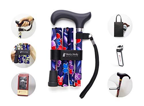 Merry Sticks, bastón Plegable Ajustable de diseño, Base Azul Floral, Incluye una práctica Bolsa para su bastón y un Soporte para Bastones Reflectante Inteligente