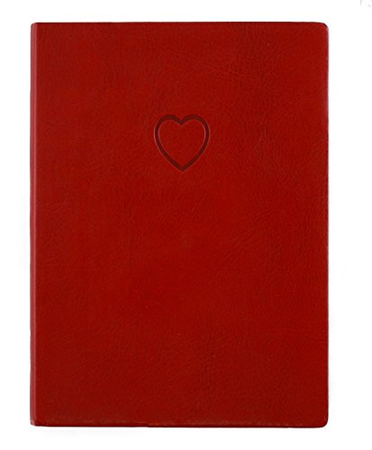 Eccolo Red Embossed Heart Writing Journal, 256 Lined Page Notebook, Flexible Faux Leather Cover