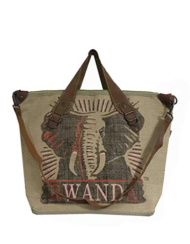 HOGACA coole Damen-Handtasche Mod.4.4 Elefant Natur aus recycelten Kaffeesack Kaffeebohnensack-Leinen Juttesack Country Line Shopper Damenhandtasche Sommer-Strand-Hippie-Ibiza-Tasche