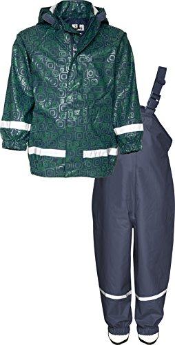 Playshoes Kinder Regenanzug, Zweiteiliger Matsch-Anzug für Jungen und Mädchen mit abnehmbarer Kapuze, mit Ornament-Muster, Blau(11 marine ), 104