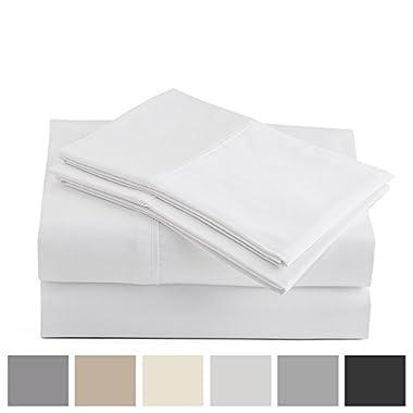 Peru Pima - 415 Thread Count - 100% Peruvian Pima Cotton - Percale - Bed Sheet Set (Queen, White)