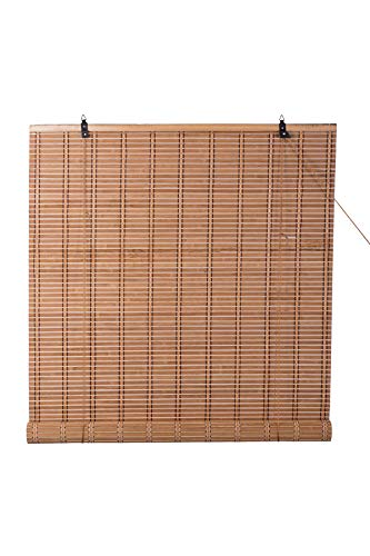 """TJ Global Bamboo Roll Up Window Blind Sun Shade, Light Filtering Roller Shades (24"""" x 72"""")"""