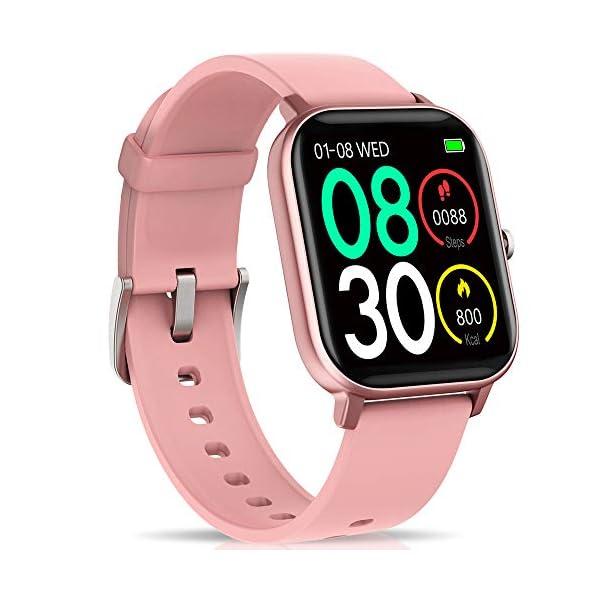 """NAIXUES Smartwatch, Reloj Inteligente Impermeable IP67 Reloj Deportivo 1.4"""" Pantalla Táctil Completa con Pulsómetro, Monitor de Sueño, Podómetro, Notificaciones para Mujer Hombre (Negro) 1"""