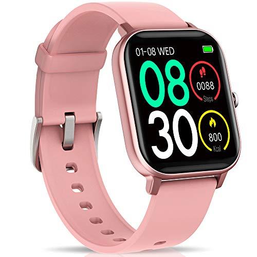 """NAIXUES Smartwatch, Reloj Inteligente Impermeable IP67 Reloj Deportivo 1.4\"""" Pantalla Táctil Completa con Pulsómetro, Monitor de Sueño, Podómetro, Notificaciones para Mujer Hombre (Rosa)"""