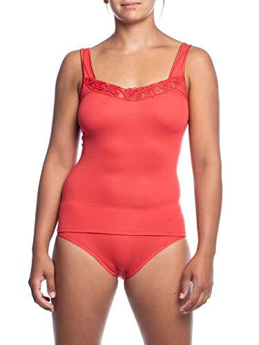 Pompadour Damen Achsel-Top mit Spitze aus Micromodal mit Elasthan Unterhemd in Rot Größe 38