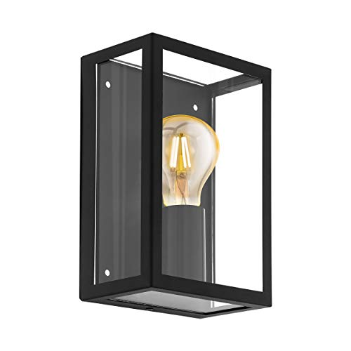 EGLO Außen-Wandlampe Alamonte 1, 1 flammige Außenleuchte, Wandleuchte aus Stahl verzinkt, Farbe: Schwarz, Glas: klar, Fassung: E27, IP44