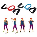 WSERE 2 Pieces Workout Exercise Resistance Bands with Handles for Women Men Home Fitness, Strength Training, Muscle Toning, Physical Therapy, Blue & Red