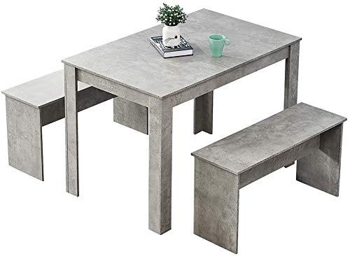 Mesa y 2 grupos de cocina bancos, asientos 4 para la madera utilizada para el grupo pequeño espacio de comedor de madera,Grey
