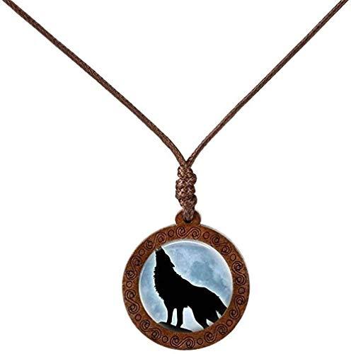LBBYMX Co.,ltd Halskette Mode Holzglas Cabochon Halskette Wolf Mond Halskette Kette Modeschmuck für Männer Frauen Geschenk