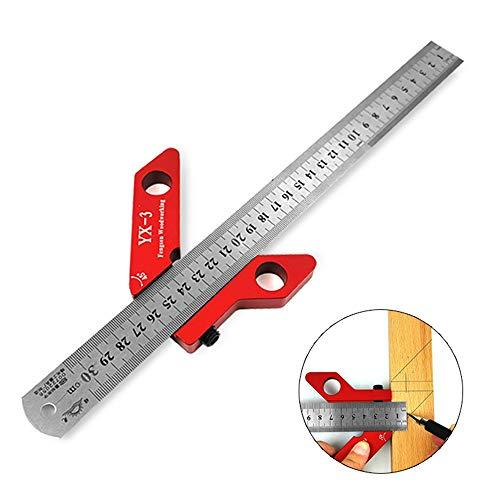 Center Line Scriber, 45/90 Degree Right Angle Line Gauge Carpenter Ruler, Woodworking Aluminum Alloy Center Scribe Square Center Scribe Measuring Tool