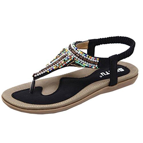 VJGOAL Damen Sandalen, Frauen Mädchen böhmischen Mode Flache beiläufige Sandalen Strand Sommer Flache Schuhe Frau Geschenk (41 EU, V-schwarz)