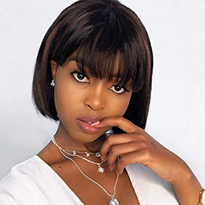 Short Black Bob Wig With Bangs for White Black WomenSynthetic Daily Party Wig