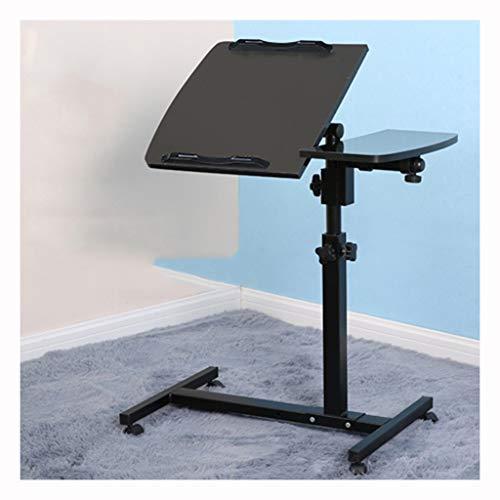 LSRRYD laptoptafel, wieltjes, bijzettafel, notebooktafel, muis, hout, onderhoudtafel, roltafel, softafel, op wieltjes, in hoogte verstelbaar en 360 graden draaibaar