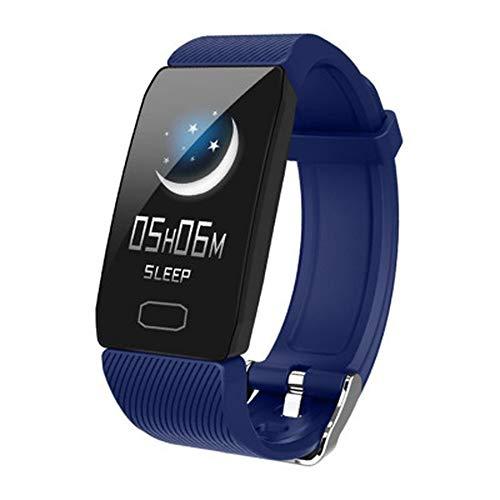 Pulsera inteligente con pantalla meteorológica, presión arterial, frecuencia cardíaca, monitor de actividad física, reloj inteligente, impermeable, para hombres, mujeres y niños (azul)