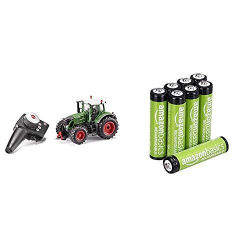 Siku 6880, Ferngesteuerter Fendt 939 Traktor, Inkl. Fernsteuermodul, Grün & AmazonBasics Vorgeladene NI-MH AAA-Akkus - Akkubatterien (1.000 Zyklen, typisch 800mAh,  1.2 V ,minimal 750mAh) 8 Stck