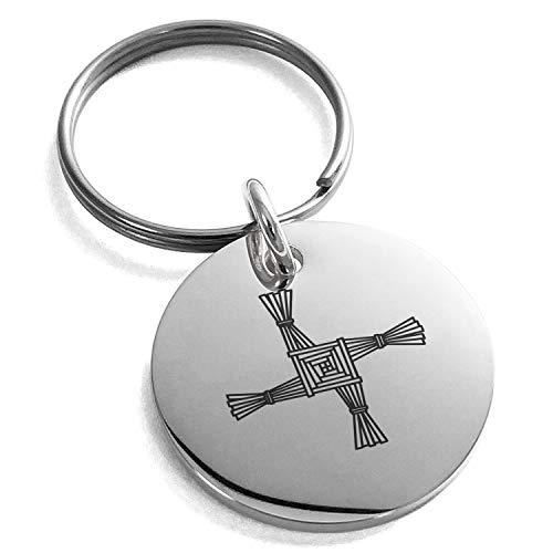 Tioneer Stainless Steel Celtic Saint Brigid Cross Symbol Small Medallion Circle Charm Keychain Keyring