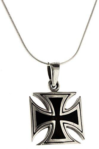 Kiss of Leather Eisernes Kreuz Anhänger aus 925 Sterling Silber mit Silberkette 1 mm, 41-66 cm (66)