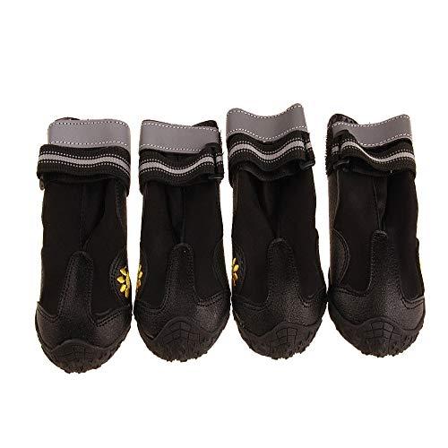 MYYXGS rutschfeste Regenstiefel Katzen und Hunde Welpen wasserdicht Haustier Hund Schuhe reflektierende Magie Kunststoff Hund Schuhe geeignet für große und mittlere Hunde 7,8 * 7,3 cm