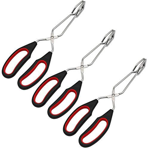 QAAQS Pinzas de acero inoxidable con plástico de silicona para cocina, horno, horno, barbacoa, parrilla, tijeras, pinzas para barbacoa, 24,13 cm