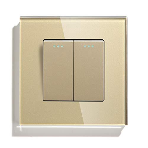 BSEED Lichtschalter 2 Fach 2 Wege Glas Wechselschalter Screwless 10A Rocker Tactile Wandschalter Gold Kristall Kippschalter