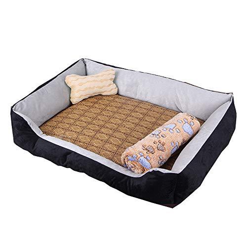 kraeoke Cama para perros 4 en 1, cesta para perros sofá para perros 4 en 1 con colchoneta para dormir de bambú, manta de lana y huesos, cojín lavable XS