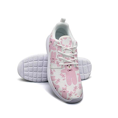 Giant teddy bear pink cheap white Casual Shoes for Women Print Breathable and Lightweight Best Running Shoes