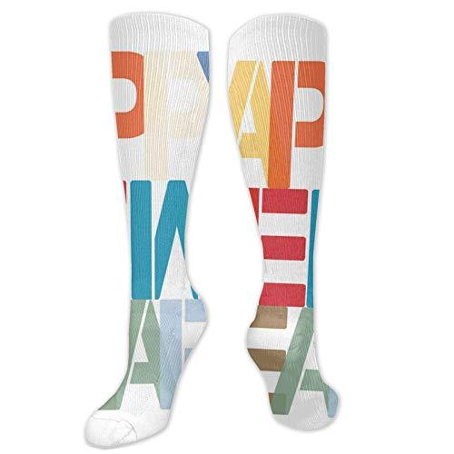 FULIYA personalised socks,Big Bold Rectangular Letters Christmas Holiday Festive Time Of The Year,Womens Funny Socks Ladies Cotton Socks Funky Socks Novelty Crew Mens Socks