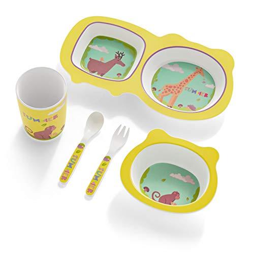 H HOMEWINS Vajilla infantil de 5 piezas hecha de bambú: plato, cuenco, cuchara, tenedor, taza, cubertería infantil sin BPA, juego de vajilla ecológica para bebés pequeños (Jirafa-2)