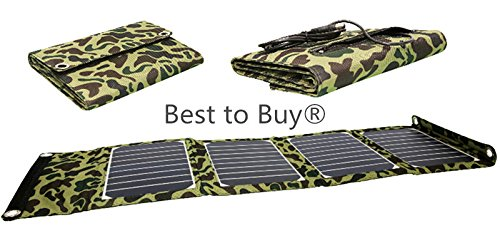 Best to Buy Nice design High Efficient 20W Foldable Solar Panel Portable Solar Charger (USB Port + 5-18V DC Output) for iPhones, iPads, Samsung Galaxy Phones, Acer, Asus, Dell, HP, Toshiba, Lenovo Notebooks, Laptops and Many Other Devices