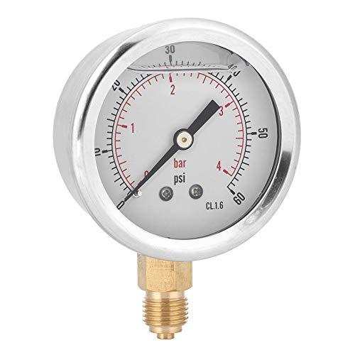 Manómetro, 1/4BSP Y60 Manómetro de Medidor de Presión de Aceite Radial para Maquinaria, con Calidad y Durabilidad Profesional, para Maquinaria, Petróleo, Industria Química