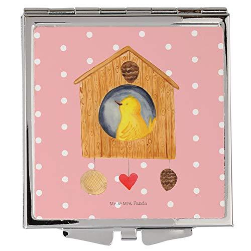 Mr. & Mrs. Panda Schminkspiegel, Silber, Handtaschenspiegel quadratisch Vogelhaus - Farbe Rot Pastell