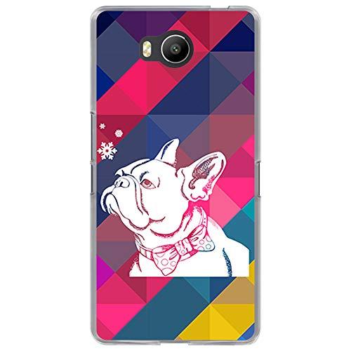 BJJ SHOP Transparent Hülle für [ Elephone P9000 Lite ], Klar Flexible Silikonhülle, Design: Rhombos und Bulldogge