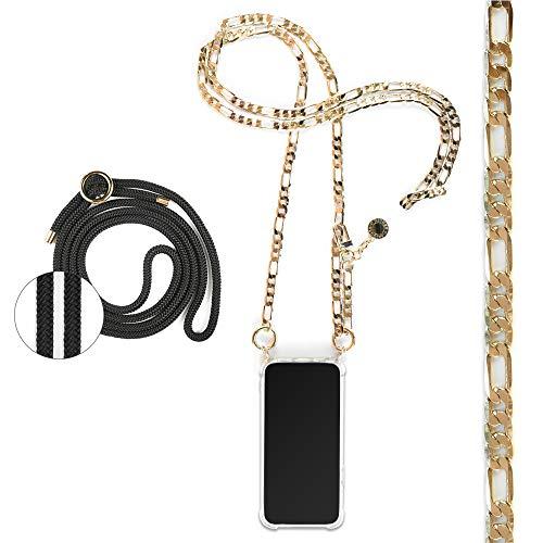 Jalouza - Cadena Colgante para teléfono móvil Compatible con iPhone 6 6s 7 8 SE(2020), Cadena fígaro con carcaza para el móvil para Colgar + Cuerda Negra de Repuesto, diseñado en Berlín
