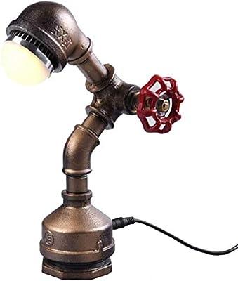 INJUICY Loft Hierro Base Steampunk Lámpara Escritorio Antiguo ...