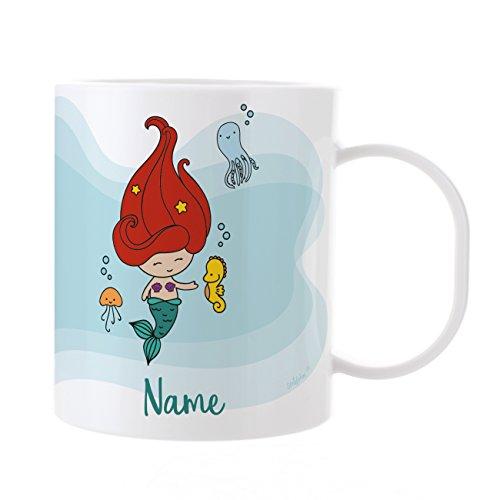 Striefchen® Kindertasse mit Namen - Meerjungfrau - aus Kunststoff