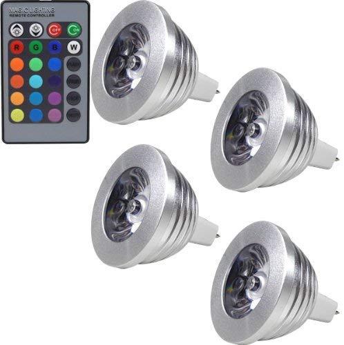 MENGS® Pack de 4 Bombilla lámpara LED 3 Watt MR16, AC/DC 12, RGB + Control Remoto IR
