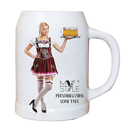 My Custom Style Boccale Birra in Ceramica 0,500 l, Personalizzabile
