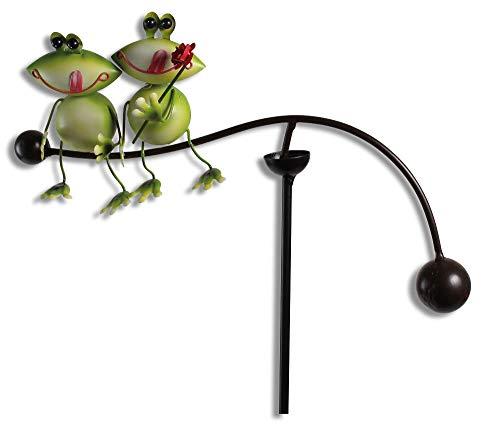 bb10 Schmuck Gartenfigur Windspiel Wippe mit Froschpaar Links aus Metall 90 cm groß Gartenstecker Beetstecker Gartendekoration