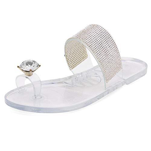 Shoe Land Summer Women Rhinestone Bowtie Flip Flops Jelly Thong Sandals Rubber Flat Beach Rain Shoes 1901Clear 7.0